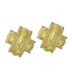 18K Gold and Diamond X Quilt Matte Finish Earrings  Designed By The Mazza Company