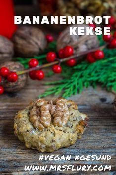 Bananenbrot Cookies vegan Gesunde Kekse Mrs Flury Rezept gesund backen, gesunde Weihnachten, Weihnachtskekse, gesunde Plätzchen, Kekse #cookies #bananenbrot #vegan #zuckerfrei #gesund #mrsflury