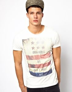 Image 1 ofJack & Jones T-Shirt With Flag Print
