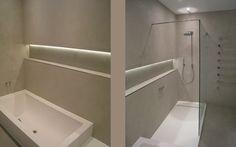 Bathroom using Tadelakt (waterproof plaster used in Morocco) Flexible Furniture, New China, Tadelakt, Mid Century Modern Decor, Wet Rooms, Rustic Industrial, Bathroom Renovations, Colour Schemes