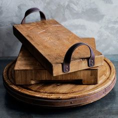 Use scraps of leather and pieces of scrap wood to create a DIY rustic wooden tray with leather handles!