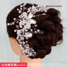 Wholesale Tiaras & Hair Accessories - Buy Gorgeous Handmade Bridal Pearls Crystals Tiara Wedding Hair Accessories, $29.9   DHgate
