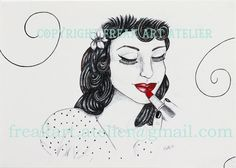 Rouge pin up _ print of original artwork by FreakArtAtelier, €22.00 #pinup #print #drawing #ink