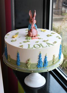 Our Beatrix Potter cake is perfect for first birthday parties. By Whipped Bakeshop in Philadelphia. First Birthday Cakes, 4th Birthday Parties, Beatrix Potter Cake, Peter Rabbit Party, Celebration Cakes, Custom Cakes, Cake Designs, First Birthdays, Cake Decorating