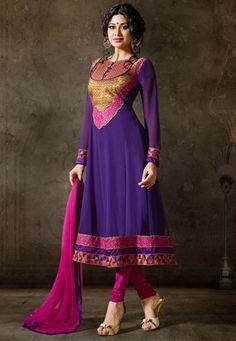 Purple Faux Georgette Anarkali Churidar Kameez