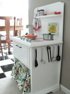 DIY play kitchen from a nightstand.