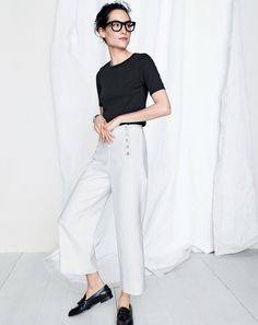 J.Crew women's new perfect-fit T-shirt, sailor pant in heavy linen and Biella tassel loafers.