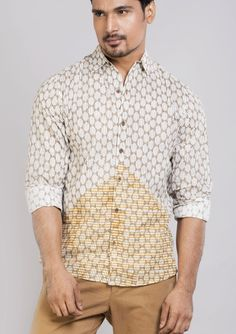Block printed cotton shirts tops and shirt BS Each 1 This shirt is constructed from a handle cotton with block prints pattern .This cotton shirts ensure comfort and fit that easily outshines others.*classic collar shirt *semi formal shirt *Full sleeves *Front buttoned 8*roll up sleeves.