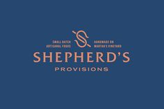 Shepherd's Provisions creates artisanal culinary products by hand on Martha's Vineyard. The logo is built on a modified capital letter S, drawn with two interlocking shepherd staffs. The peach color is warm, vibrant, and inviting. It is counterbalanced wi…