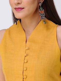 Mustard Button-down Matka Cotton Kurta with Front Slit blouse 2 Kurtha Designs, Chudidhar Neck Designs, Salwar Neck Designs, Kurta Neck Design, Neck Designs For Suits, Neckline Designs, Kurta Designs Women, Designs For Dresses, Blouse Neck Designs