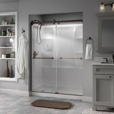Add chic and functionality to your bath decor by installing this Delta Portman Semi-Frameless Contemporary Sliding Shower Door in Nickel with Rain Glass. Bathtub Shower Doors, Glass Shower Panels, Frameless Sliding Shower Doors, Glass Panels, Shower Enclosure, Shower Alcove, Sliding Doors, Contemporary Shower Doors, Contemporary Style