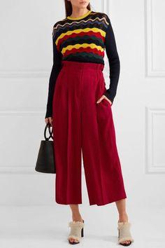 Sonia Rykiel - Pleated Crepe Wide-leg Pants - Red - FR44