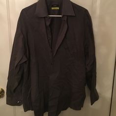 Alfani men's dressy shirt Alfani men's dressy shirt. Size extra-large(17 34-35) .gray stripe. Used. Excellent condition. Alfani Tops Button Down Shirts