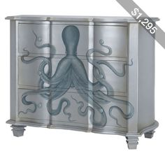 Satin Silver Painted Octopus Chest
