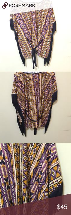 Flying Tomato Poncho Purple and gold poncho with navy fringed sleeves and tie belt at waist Tops