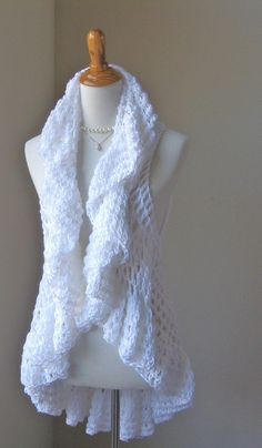 WHITE CROCHET VEST Hippie Crochet Vest Circle Vest by marianavail, $62.00