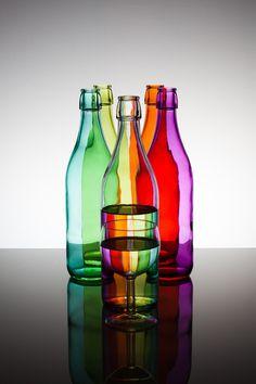 rainbow glass bottles