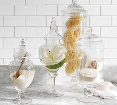 PB Classic Glass Apothecary Jars from Pottery Barn. Shop more products from Pottery Barn on Wanelo. Bathroom Canisters, Glass Canisters, Glass Bathroom, Glass Jars, Bathroom Ideas, Bathroom Furniture, Bathroom Trays, Bathroom Containers, Bathroom Updates