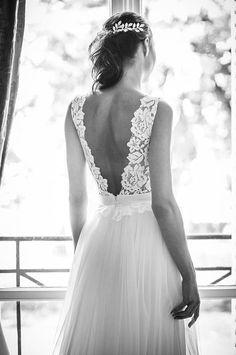 Lace wedding dress, backless and tulle skirt with train, wedding tutu - Brautkleid - Hochzeitskleid Boho Chic Wedding Dress, Backless Lace Wedding Dress, Lace Dress, Trendy Wedding, Dress Long, Rustic Wedding, Backless Dresses, Long Dresses, Elegant Wedding