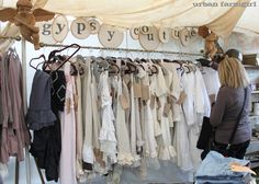 Vintage Market or Craft Fair Display Idea (Urban Farmgirl)  Love this clothing display rack with her sign above - very eye catching #craftdisplay #crafting