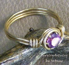 Wire Wrapped Ring  Amethyst CZ & Gold  Handmade by JewelryArtistry, $25.00