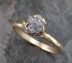 Custom Raw Rough Uncut Diamond Wedding Band 14k Gold Wedding Ring
