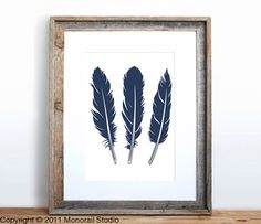 Three Feathers Poster Small Screenprint Choose your by Monorail, $12.00