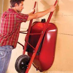 wheel barrow storage in garage
