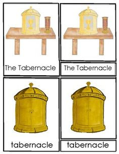 Hand drawn and water colored images introduce the child to the parts of a tabernacle corresponding to Catechesis of the Good Shepherd Level 1 (3 to 6 year olds) through 3 Part Cards. These include: -Tabernacle -Sanctuary Lamp -Ciborium