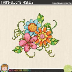 """""""Tropi-Blooms"""" - tropical flowers free digital scrapbooking elements 