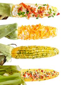 Perfect Grilled Corn - juicy summer-fresh corn is one of the season's greatest pleasures. First, grill up some ears. Then, slather on the toppings. And don't stop at butter. We didn't. Rib Recipes, Mexican Food Recipes, Cooking Recipes, Healthy Recipes, Corn Recipes, Cooking Tips, Keto Recipes, Summer Grilling Recipes, Summer Recipes