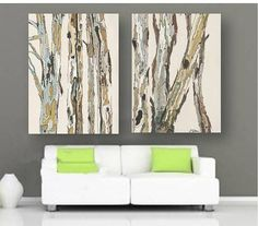 LARGE Wall Art Set Tree Trunks Gift Him Men White Artwork Living Room Wall  Decor Bathroom Dining Art Kitchen Bedroom Featured Recipe Girl | Pinterest  ...