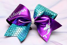 Personalized Mermaid 3 inch wide Cheer Bow by JMbabyProps on Etsy, $18.00