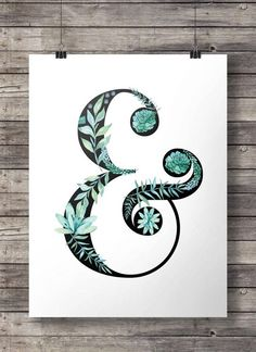 Watercolor floral ampersand - blue turquoise aqua flowers and succulents…