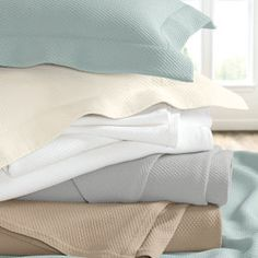 Diamond Pique Cotton Jacquard Bedding from Cuddledown