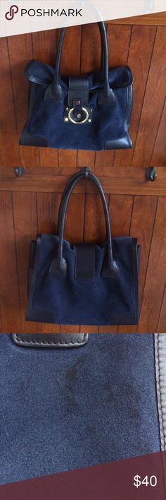 """Navy suede Sequoia purse Gorgeous and authentic, some staining on the back.  Inside is in good condition.  Measures 14"""" x 10"""" approx sequoia Bags Shoulder Bags"""