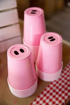 Piggy cups from Glam Barnyard Birthday Bash at Kara's Party Ideas. See all the on-point party inspiration at http://karaspartyideas.com