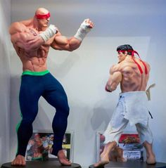 Happy Birthday Sagat 🎂 Let's celebrate with my favorite picture of him with Ryu. Both statues by Pop Culture Shock Collectibles / ! Ryu Street Fighter, Super Street Fighter, Anime Figures, Action Figures, Pop Culture Shock, Street Fighter Characters, Fighting Games, Game Character, Character Design