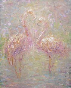 """Купить """"Чувства"""". Живопись. - кремовый, фламинго, чувства, живопись маслом, картины маслом, масляная живопись"""