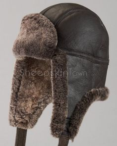 817e15ed991 Shearling Sheepskin Napa Leather Trapper Hat - Brown Napa Leather