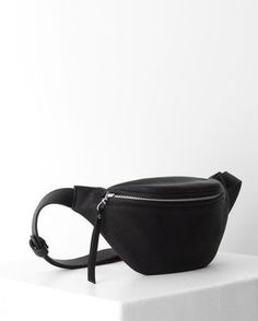 Black leather small fanny pack by DAPHNY RAES