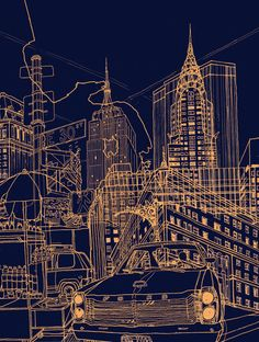 New York! Night Art Print - By Artist in Residence at the Russet - David Bushell