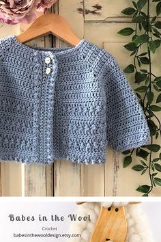 Crochet Pattern Baby Cardigan - Newborn to 36 months Boy Crochet Patterns, Crochet Baby Sweater Pattern, Crochet Baby Jacket, Crochet Baby Sweaters, Baby Sweater Patterns, Baby Patterns, Crochet Clothes, Beanie Pattern, Crochet Toddler