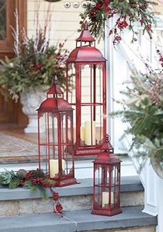 red candle lanterns and evergreens 33 Traditional Red And Green Christmas Home Decor Ideas Christmas Lanterns, Noel Christmas, Outdoor Christmas Decorations, Green Christmas, Country Christmas, Christmas Design, Christmas Cactus, Winter Christmas, Christmas Porch Ideas