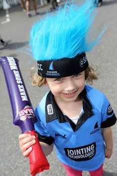One of our younger fans getting into the Sharks spirit.