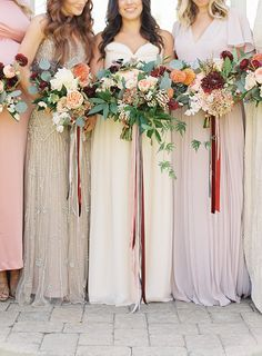 Bridal Party Bouquets in Blush and Burgundy | OMalley Photography | Elegant Natural Fall Wedding in Marsala