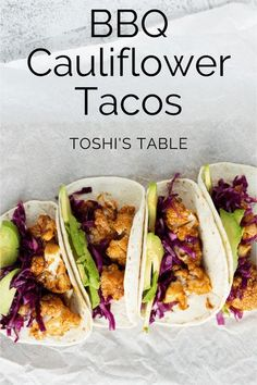 BBQ Cauliflower tacos are tangy, healthy and delicious! The tangy barbeque sauce, the crunchy lightly pickled cabbage and the creamy avocado create a beautiful balance of flavors. #bbqcauliflowertacos #cauliflowertacos #easyvegantacos Vegan Recipes Easy, Veggie Recipes, Lunch Recipes, Healthy Dinner Recipes, Vegetarian Recipes, Sin Gluten, Gluten Free, Easy Healthy Dinners, Healthy Eats