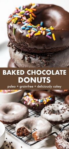 Paleo Donut, Healthy Sweets, Healthy Baked Donuts, Chocolate Cake Donuts, Gluten Free Chocolate, Dairy Free Frosting, Frosting Recipes, Baked Donut Recipes, Paleo Recipes