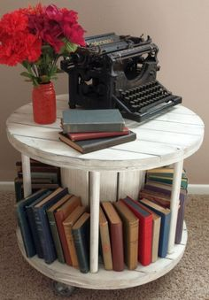 Reclaimed Wooden Cable Spool Bookmobile / End Table / Coffee Table / Night Stand / Repurposed Upcycled Wire Reel