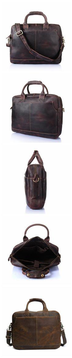 ROCKCOW Vintage Men's Genuine Leather briefcase 16 inch Big Business Handbag Cowhide Laptop Handbag Briefcase Messenger Bag YD8013